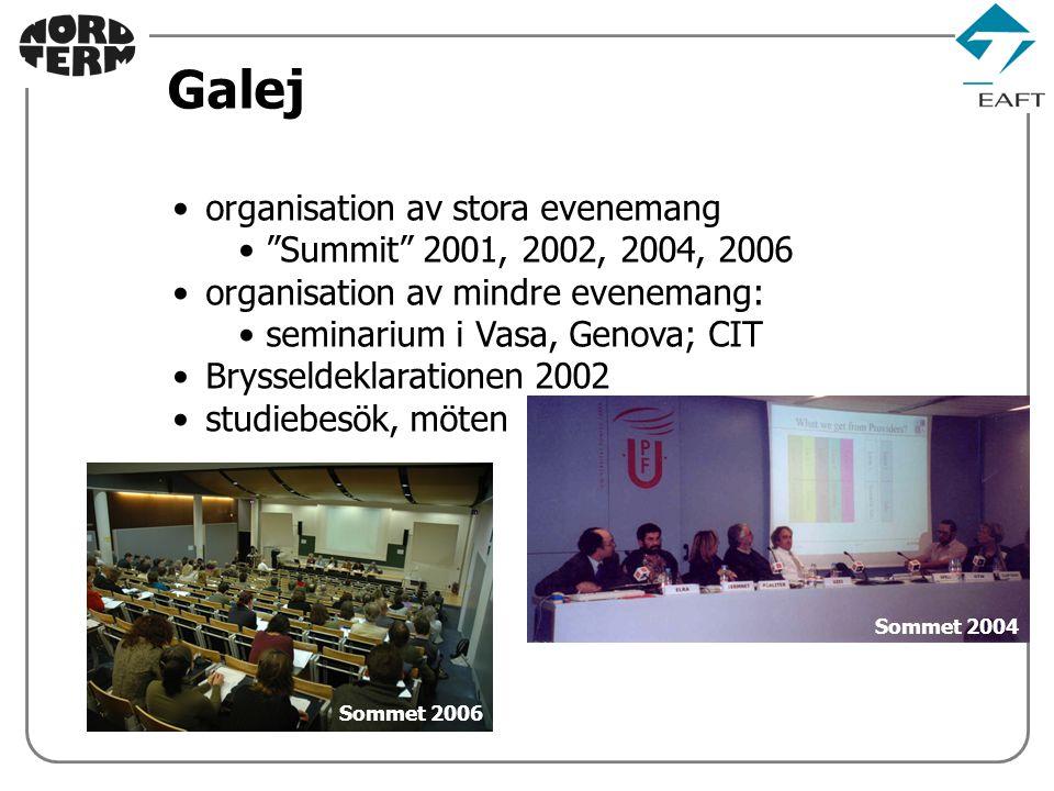 Sommet 2004 organisation av stora evenemang Summit 2001, 2002, 2004, 2006 organisation av mindre evenemang: seminarium i Vasa, Genova; CIT Brysseldeklarationen 2002 studiebesök, möten Galej Sommet 2006