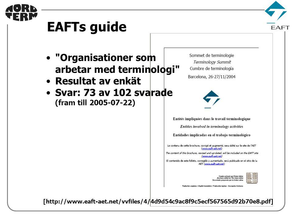 EAFTs guide Organisationer som arbetar med terminologi Resultat av enkät Svar: 73 av 102 svarade (fram till 2005-07-22) [http://www.eaft-aet.net/vvfiles/4/4d9d54c9ac8f9c5ecf567565d92b70e8.pdf]