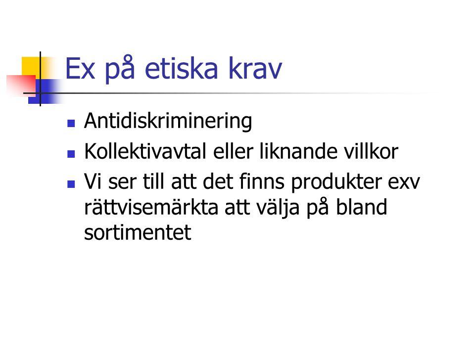 Ex på etiska krav Antidiskriminering Kollektivavtal eller liknande villkor Vi ser till att det finns produkter exv rättvisemärkta att välja på bland s