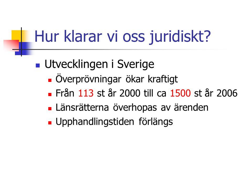 Hur klarar vi oss juridiskt? Utvecklingen i Sverige Överprövningar ökar kraftigt Från 113 st år 2000 till ca 1500 st år 2006 Länsrätterna överhopas av