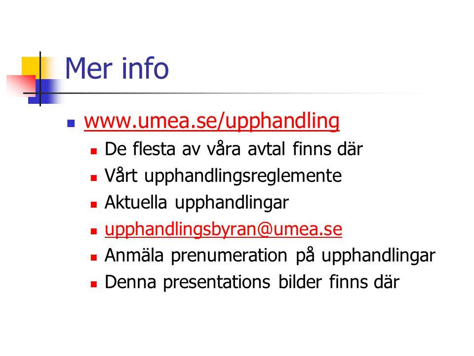 Mer info www.umea.se/upphandling De flesta av våra avtal finns där Vårt upphandlingsreglemente Aktuella upphandlingar upphandlingsbyran@umea.se Anmäla prenumeration på upphandlingar Denna presentations bilder finns där