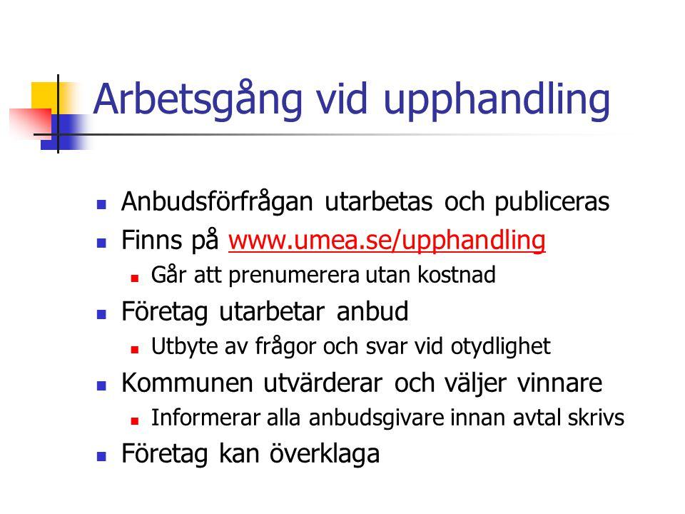 Arbetsgång vid upphandling Anbudsförfrågan utarbetas och publiceras Finns på www.umea.se/upphandlingwww.umea.se/upphandling Går att prenumerera utan k