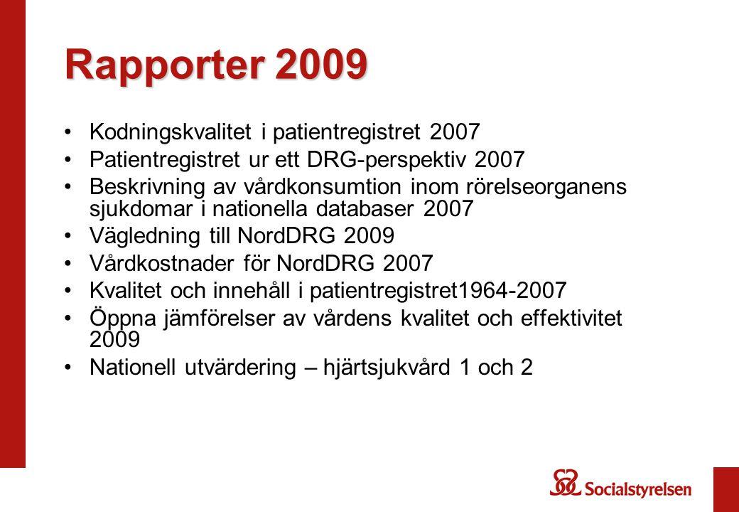 Rapporter 2009 Kodningskvalitet i patientregistret 2007 Patientregistret ur ett DRG-perspektiv 2007 Beskrivning av vårdkonsumtion inom rörelseorganens