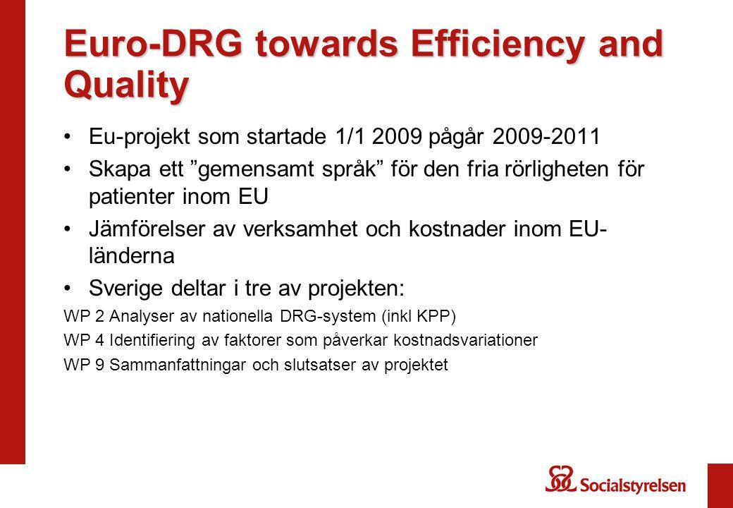 """Euro-DRG towards Efficiency and Quality Eu-projekt som startade 1/1 2009 pågår 2009-2011 Skapa ett """"gemensamt språk"""" för den fria rörligheten för pati"""
