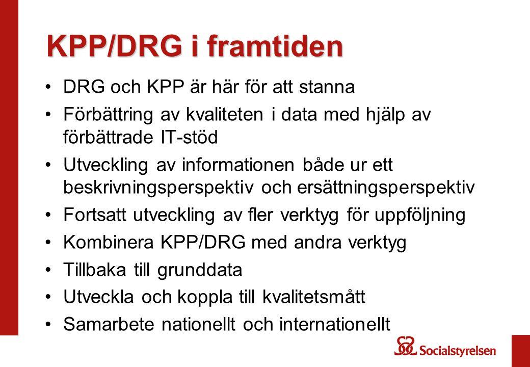 KPP/DRG i framtiden DRG och KPP är här för att stanna Förbättring av kvaliteten i data med hjälp av förbättrade IT-stöd Utveckling av informationen bå