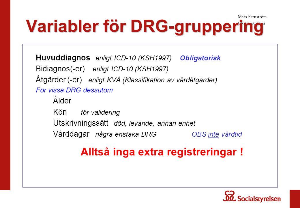 Huvuddiagnos enligt ICD-10 (KSH1997) Obligatorisk Bidiagnos(-er) enligt ICD-10 (KSH1997) Åtgärder (-er) enligt KVÅ (Klassifikation av vårdåtgärder) Fö