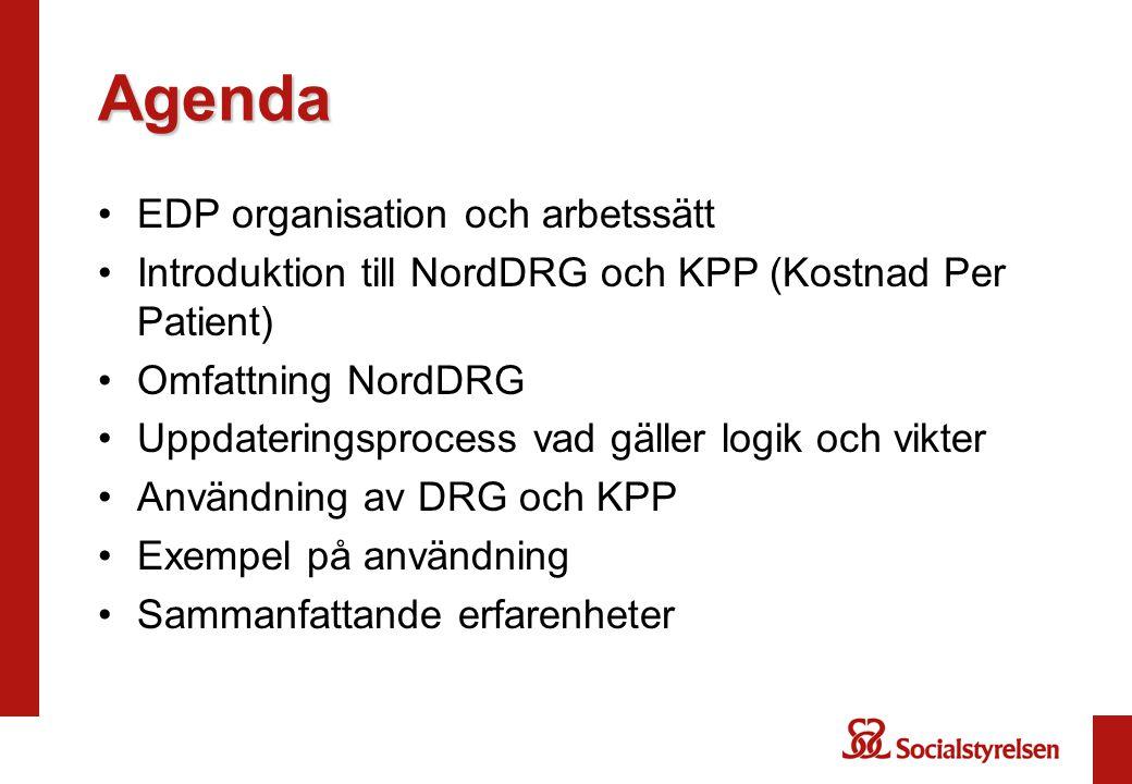 Euro-DRG towards Efficiency and Quality Eu-projekt som startade 1/1 2009 pågår 2009-2011 Skapa ett gemensamt språk för den fria rörligheten för patienter inom EU Jämförelser av verksamhet och kostnader inom EU- länderna Sverige deltar i tre av projekten: WP 2 Analyser av nationella DRG-system (inkl KPP) WP 4 Identifiering av faktorer som påverkar kostnadsvariationer WP 9 Sammanfattningar och slutsatser av projektet