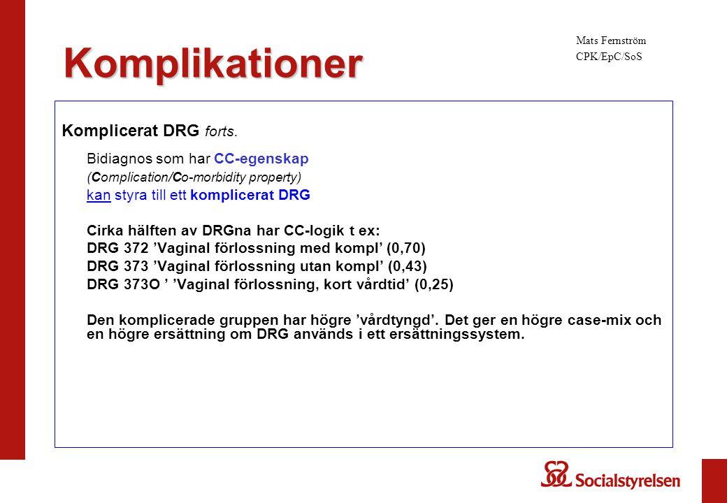 Komplicerat DRG forts. Bidiagnos som har CC-egenskap (Complication/Co-morbidity property) kan styra till ett komplicerat DRG Cirka hälften av DRGna ha
