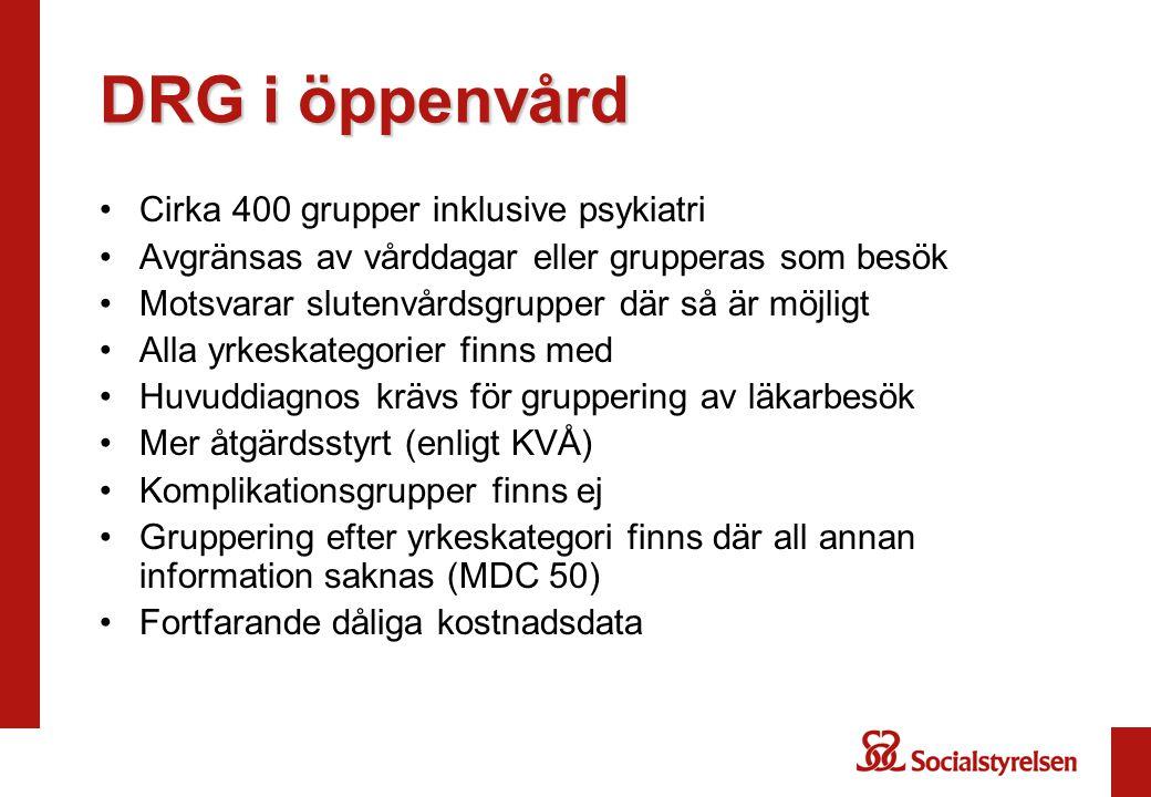 DRG i öppenvård Cirka 400 grupper inklusive psykiatri Avgränsas av vårddagar eller grupperas som besök Motsvarar slutenvårdsgrupper där så är möjligt