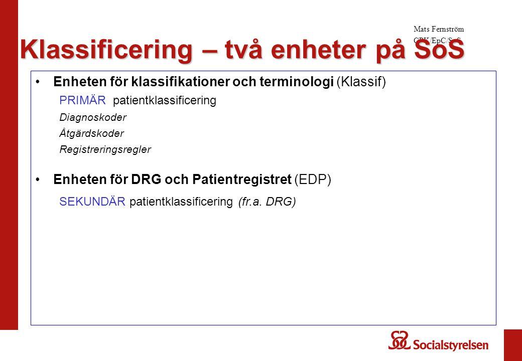 Mats Fernström CPK/EpC/SoS Enheten för klassifikationer och terminologi (Klassif) PRIMÄR patientklassificering Diagnoskoder Åtgärdskoder Registrerings