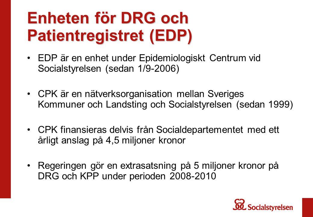 Enheten för DRG och Patientregistret (EDP) EDP är en enhet under Epidemiologiskt Centrum vid Socialstyrelsen (sedan 1/9-2006) CPK är en nätverksorgani