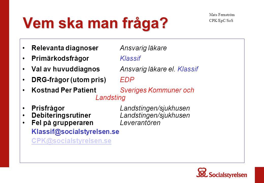 Relevanta diagnoserAnsvarig läkare PrimärkodsfrågorKlassif Val av huvuddiagnosAnsvarig läkare el. Klassif DRG-frågor (utom pris)EDP Kostnad Per Patien