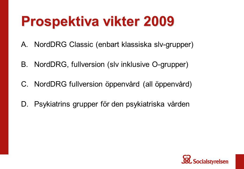 Prospektiva vikter 2009 A.NordDRG Classic (enbart klassiska slv-grupper) B.NordDRG, fullversion (slv inklusive O-grupper) C.NordDRG fullversion öppenv