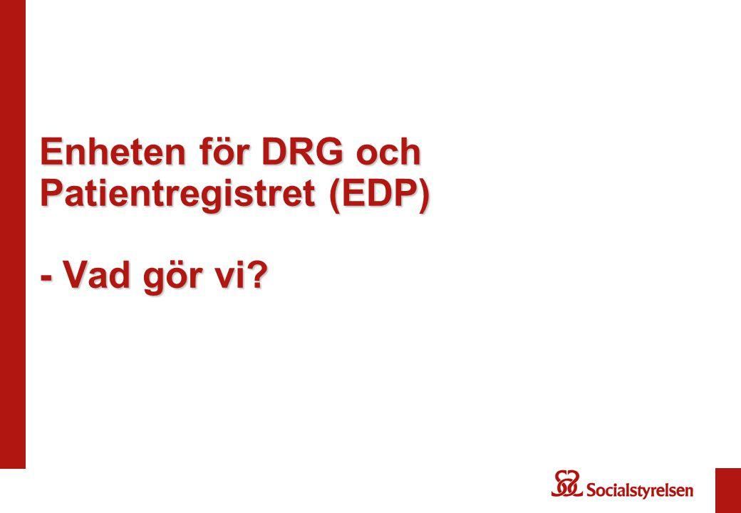KPP och DRG NordDRG är beroende av att KPP tas fram årligen KPP (Kostnad Per Patient)-system tar fram verkliga kostnader per vårdkontakt, DRG speglar den genomsnittlige patienten KPP utgör underlag för DRG – DRG kan enbart valideras genom KPP KPP utgör underlag för ytterfallsberäkningar, DRG- vikter, förklaringsvärden mm KPP är beroende av att det finns beskrivning av vårdkontakten för att informationen ska bli meningsfull (d v s primärkoder och DRG).