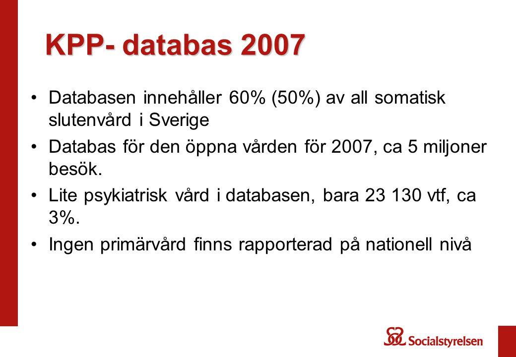 KPP- databas 2007 Databasen innehåller 60% (50%) av all somatisk slutenvård i Sverige Databas för den öppna vården för 2007, ca 5 miljoner besök. Lite