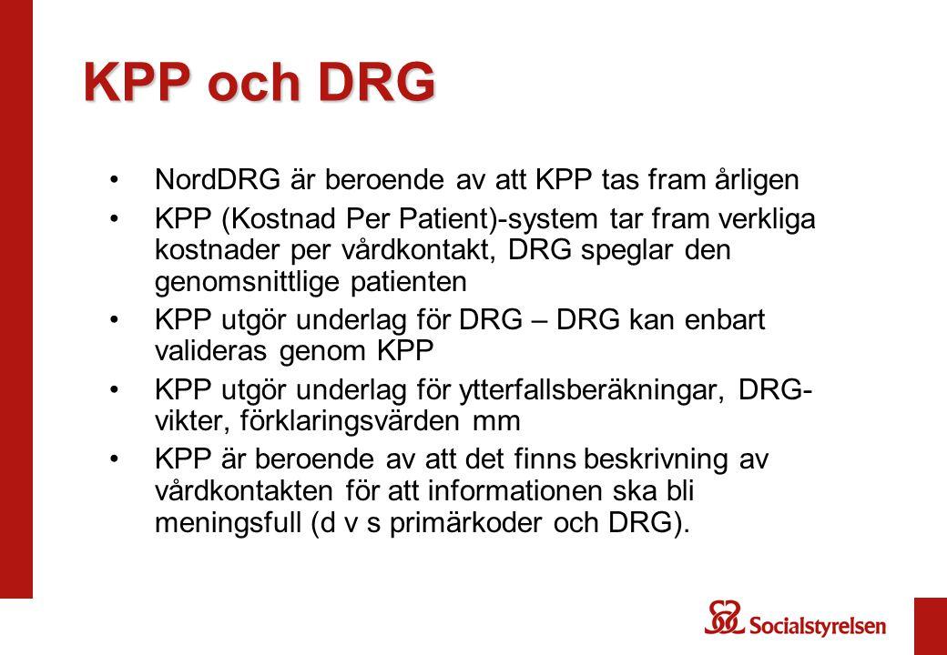 KPP och DRG NordDRG är beroende av att KPP tas fram årligen KPP (Kostnad Per Patient)-system tar fram verkliga kostnader per vårdkontakt, DRG speglar
