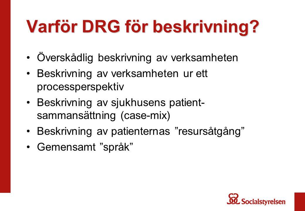 Varför DRG för beskrivning? Överskådlig beskrivning av verksamheten Beskrivning av verksamheten ur ett processperspektiv Beskrivning av sjukhusens pat