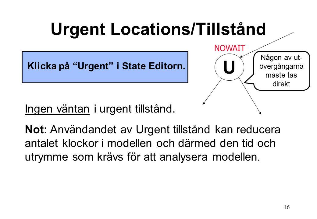 16 Urgent Locations/Tillstånd Klicka på Urgent i State Editorn.