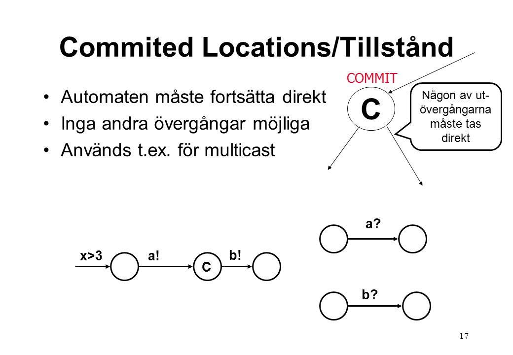 17 Commited Locations/Tillstånd Automaten måste fortsätta direkt Inga andra övergångar möjliga Används t.ex.