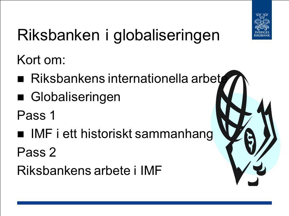 Hantering av internationella finanskriser Förslag till lösning: internationell konkursmekanism Land med ohållbar skuldsituation IMF godkänner Inte möjligt för enskilda långivare att inleda legala processer mot landet Ny finansiering täcks inte in i omförhandling En majoritet (obligationsinnehavare) kan binda en minoritet Skuldomförhandling inleds under vilken: På sikt - hållbar skuldsituation