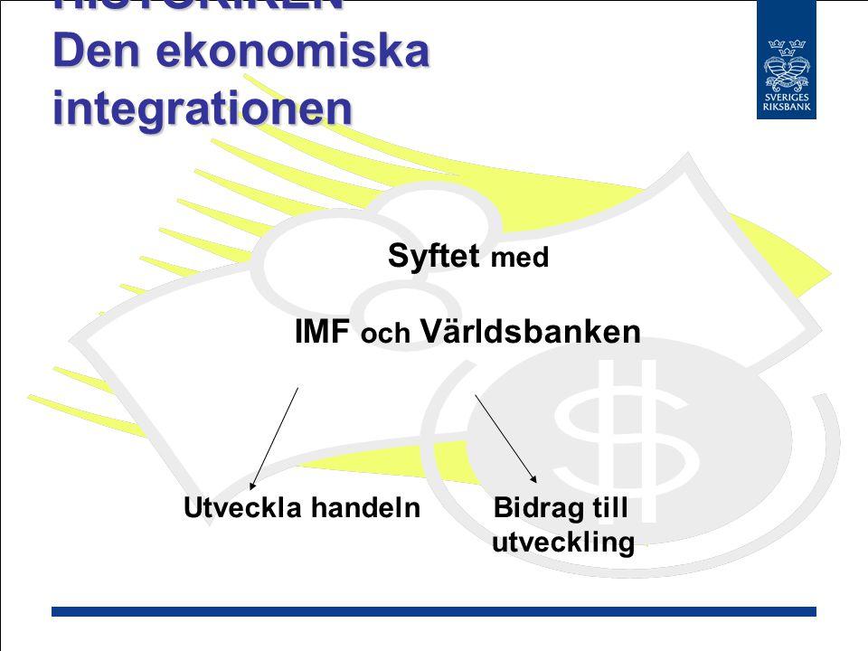 HISTORIKEN Den ekonomiska integrationen Politiska incitament Stärka Europa för att mota kommunismen 44 länder samlades i Bretton Woods Ekonomiska incitament Få igång Europas tillväxt Harry Dexter Whites och John Maynard Keynes Bretton Woods överenskommelsen