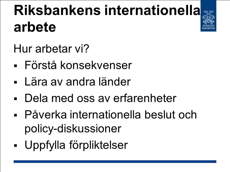 Riksbanken i globaliseringen Kort om: Riksbankens internationella arbete Globaliseringen Pass 1 IMF i ett historiskt sammanhang Pass 2 Riksbankens arbete i IMF