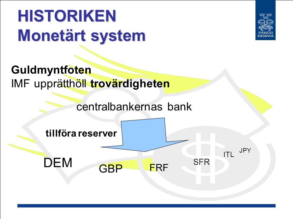 DEM GBP JPY Guldmyntfoten Dollarn knöts till guldet Övriga valutor knöts till dollarn FRF ITL SFR PAR VALUE HISTORIKEN Monetärt system USD