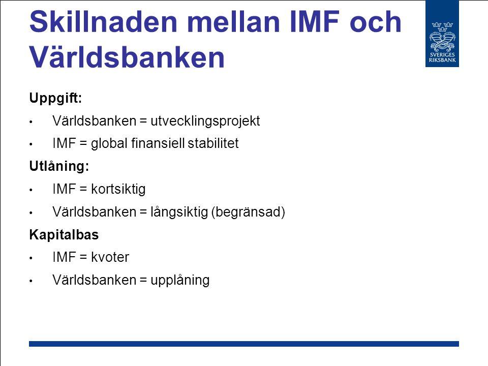 Internationella valutafonden (IMF) Varför Riksbanken och IMF.