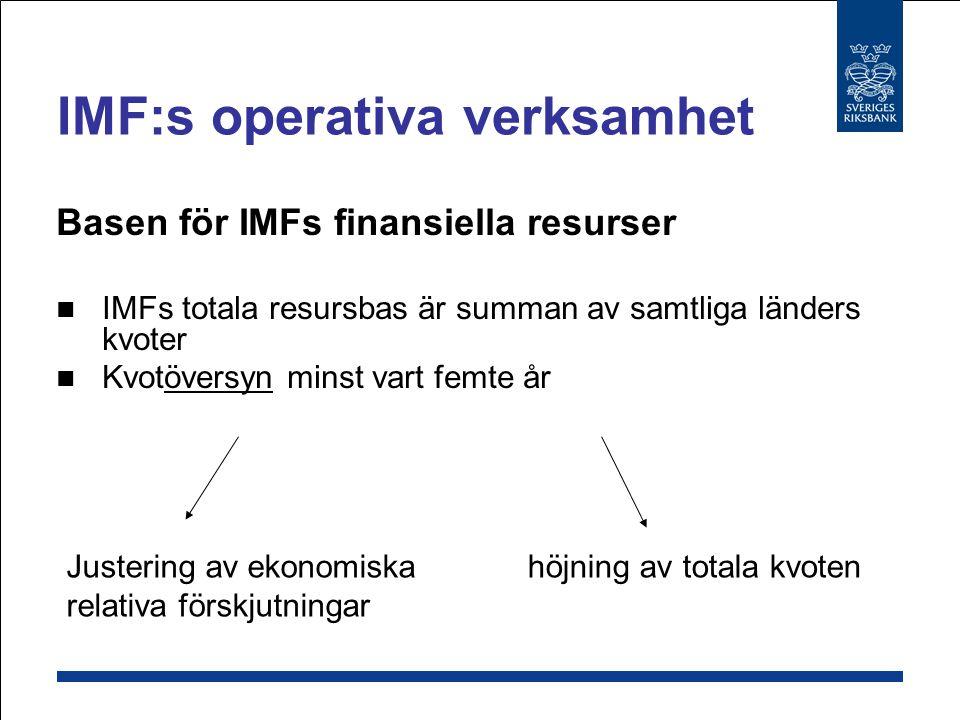 IMF:s operativa verksamhet Basen för IMFs finansiella resurser Kvoter som bestäms Av landets relativa ekonomiska styrka Selektiv fördelning BNP, handel, reserver Politisk väg
