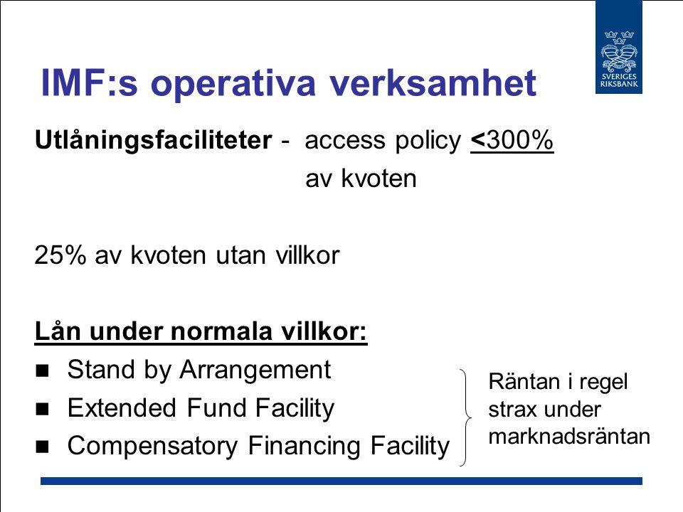Utlåningen under normala villkor: 24 program  93 % av totalt utlåningsbelopp Ränta strax under marknadsräntan Utlåning på koncessionella/mjuka villkor: 33 program  7 % av totalt utlåningsbelopp IMF:s operativa verksamhet