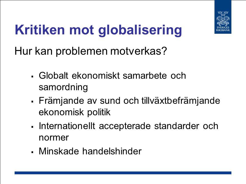 Skillnaden mellan IMF och Världsbanken Uppgift: Världsbanken = utvecklingsprojekt IMF = global finansiell stabilitet Utlåning: IMF = kortsiktig Världsbanken = långsiktig (begränsad) Kapitalbas IMF = kvoter Världsbanken = upplåning