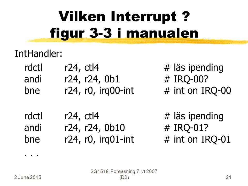 2 June 2015 2G1518, Föreäsning 7, vt 2007 (D2)21 Vilken Interrupt .