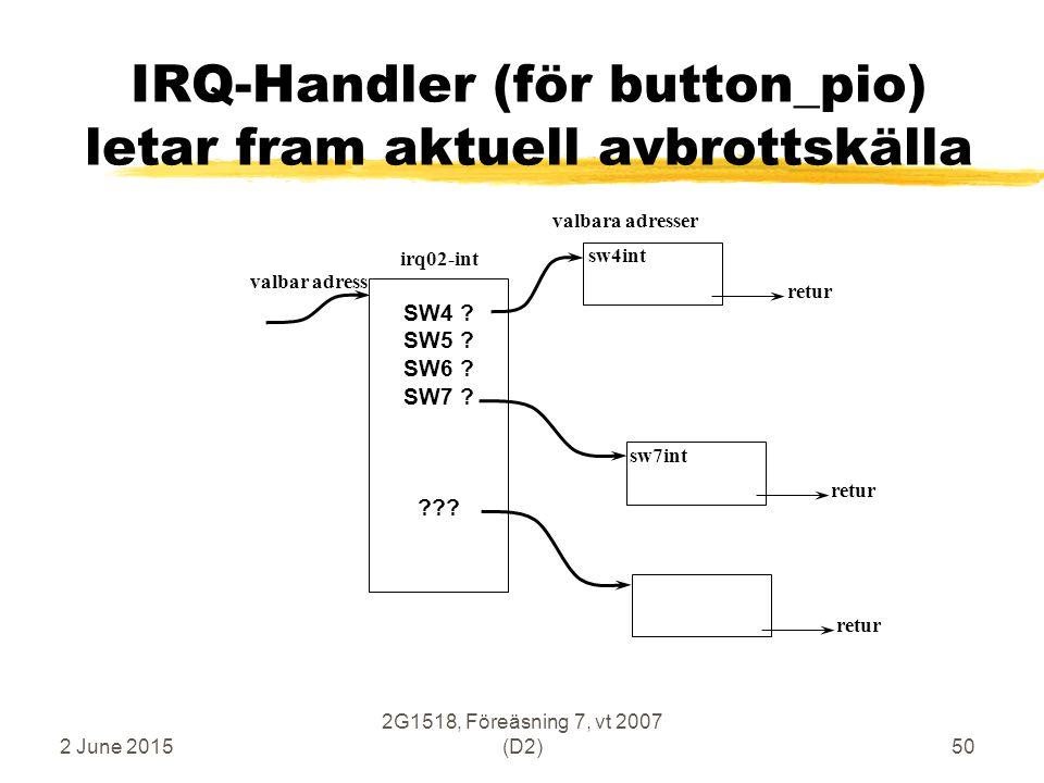 2 June 2015 2G1518, Föreäsning 7, vt 2007 (D2)50 IRQ-Handler (för button_pio) letar fram aktuell avbrottskälla irq02-int valbar adress sw4int valbara adresser SW4 .