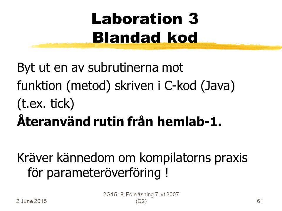 2 June 2015 2G1518, Föreäsning 7, vt 2007 (D2)61 Laboration 3 Blandad kod Byt ut en av subrutinerna mot funktion (metod) skriven i C-kod (Java) (t.ex.