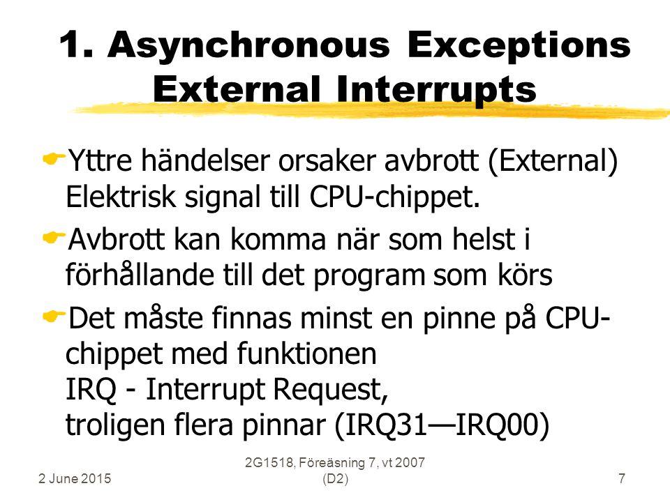 2 June 2015 2G1518, Föreäsning 7, vt 2007 (D2)18 Exception-Handler Nios-2: orsak till exception huvudprogram returadress hopp vid anrop exception ExcHandler OPCODE reg jmp ExcHandler 0x20020: fast adress valbar adress .