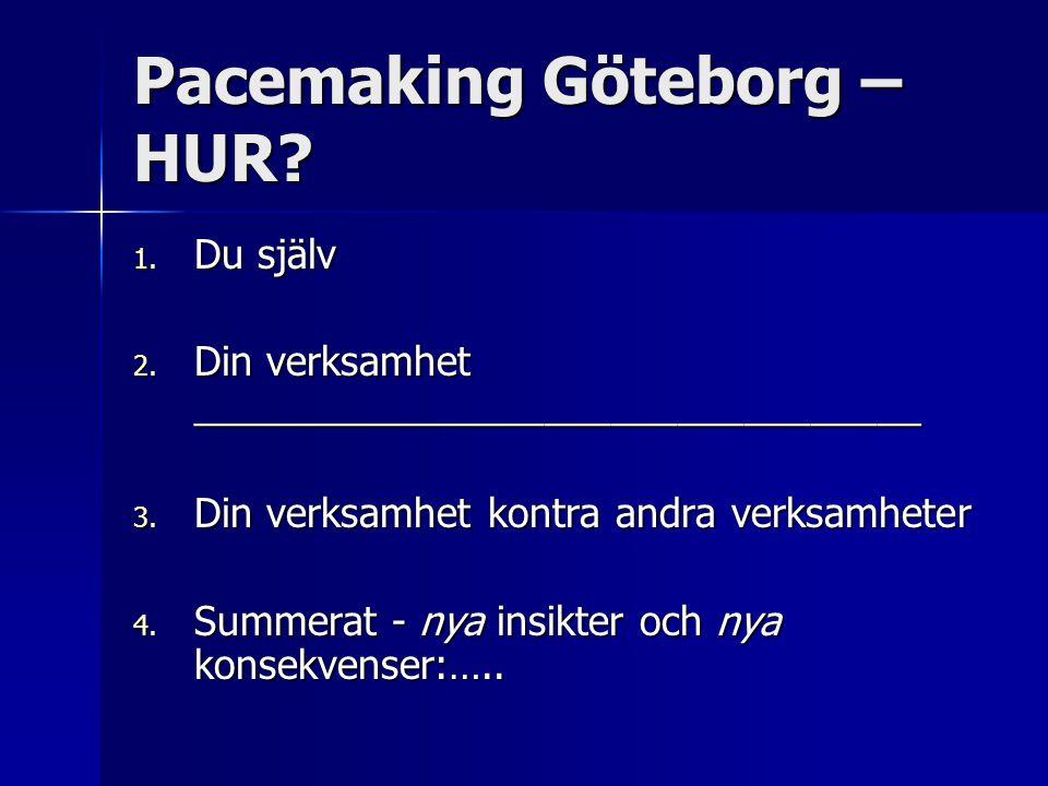 Pacemaking Göteborg – HUR? 1. Du själv 2. Din verksamhet _________________________________ 3. Din verksamhet kontra andra verksamheter 4. Summerat - n
