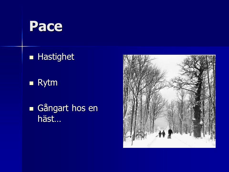 Pace Hastighet Hastighet Rytm Rytm Gångart hos en häst… Gångart hos en häst…