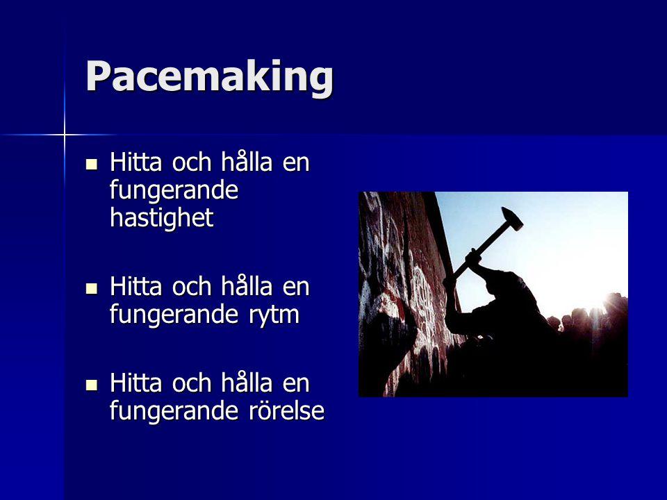Pacemaking Hitta och hålla en fungerande hastighet Hitta och hålla en fungerande hastighet Hitta och hålla en fungerande rytm Hitta och hålla en funge