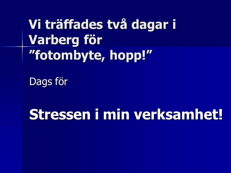 Vi träffades två dagar i Varberg för fotombyte, hopp! Dags för Stressen i min verksamhet!
