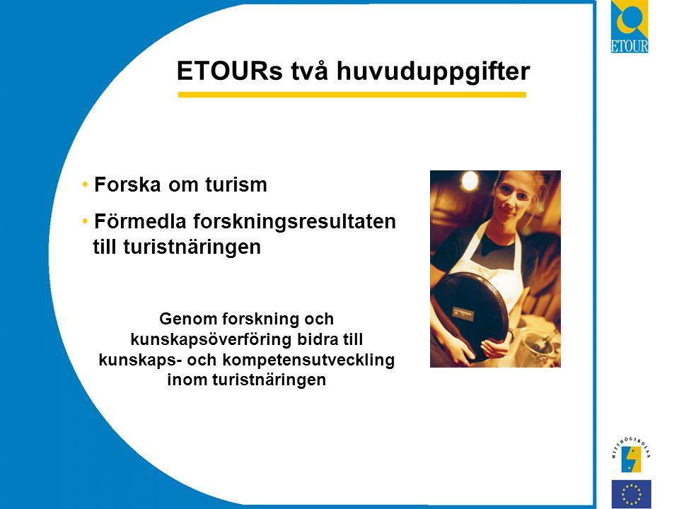 ETOURs två huvuduppgifter Forska om turism Förmedla forskningsresultaten till turistnäringen Genom forskning och kunskapsöverföring bidra till kunskaps- och kompetensutveckling inom turistnäringen