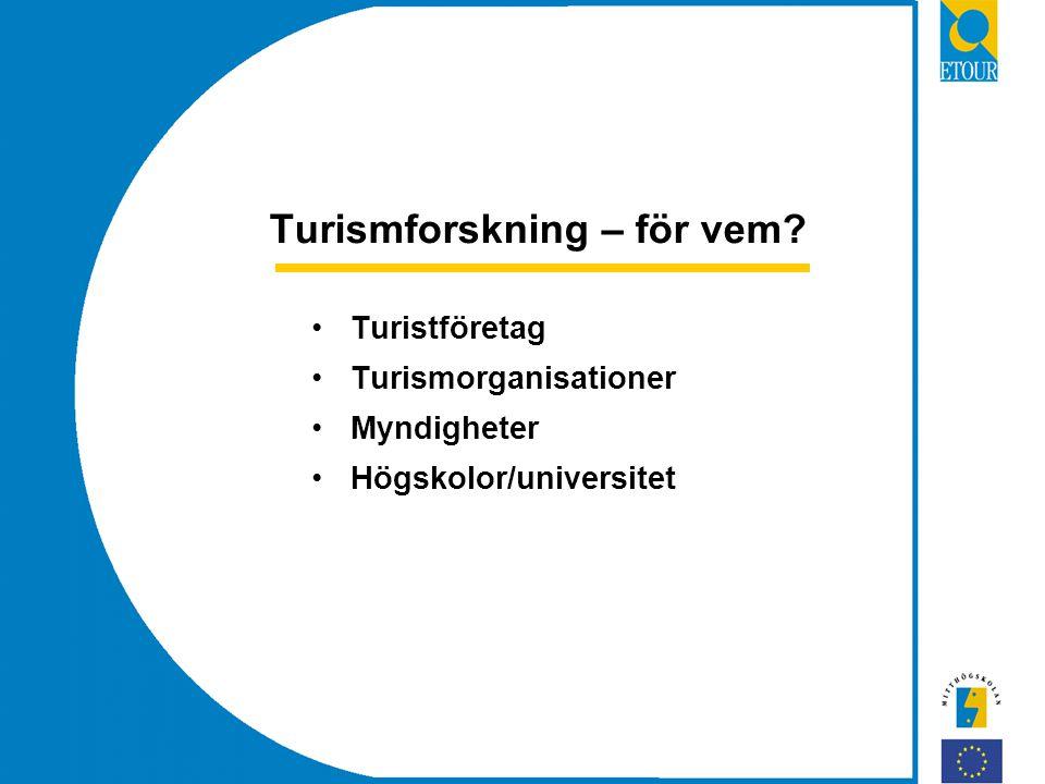 Turismforskning – för vem Turistföretag Turismorganisationer Myndigheter Högskolor/universitet