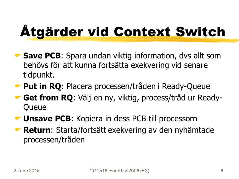 2 June 20152G1518, Förel 9 vt2006 (E3)87 Program-Kod för context switch (repris) contextswitch: pushr31# skydda returadress i r31/ra call PCBSAVE# spara PCB på lokal stack move r4, sp# kopiera sp till r4 call RQPUT# skriv sp i Ready Queue # här görs språnget mellan 2 processer/trådar exit:call RQGET # läs ny sp från Ready Queue move sp, r2# kopiera r2 till sp call PCBUNSAVE # kopiera PCB till processorn popr31# återställ r31/ra...