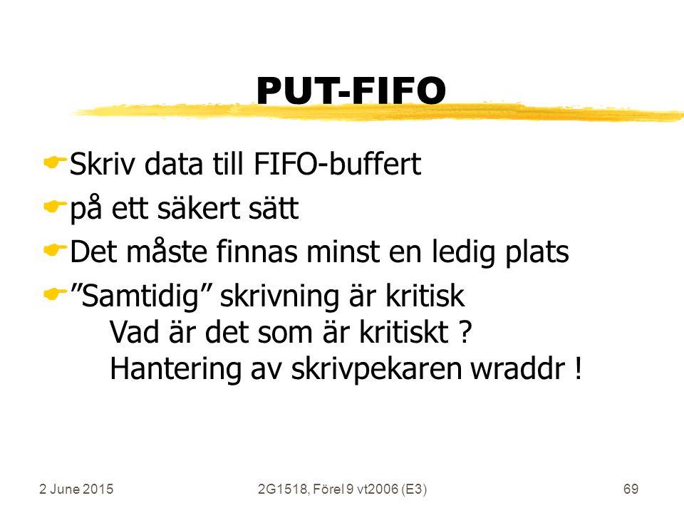 2 June 20152G1518, Förel 9 vt2006 (E3)69 PUT-FIFO  Skriv data till FIFO-buffert  på ett säkert sätt  Det måste finnas minst en ledig plats  Samtidig skrivning är kritisk Vad är det som är kritiskt .