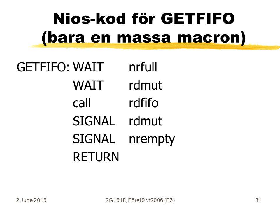 2 June 20152G1518, Förel 9 vt2006 (E3)81 Nios-kod för GETFIFO (bara en massa macron) GETFIFO:WAITnrfull WAITrdmut callrdfifo SIGNALrdmut SIGNALnrempty RETURN