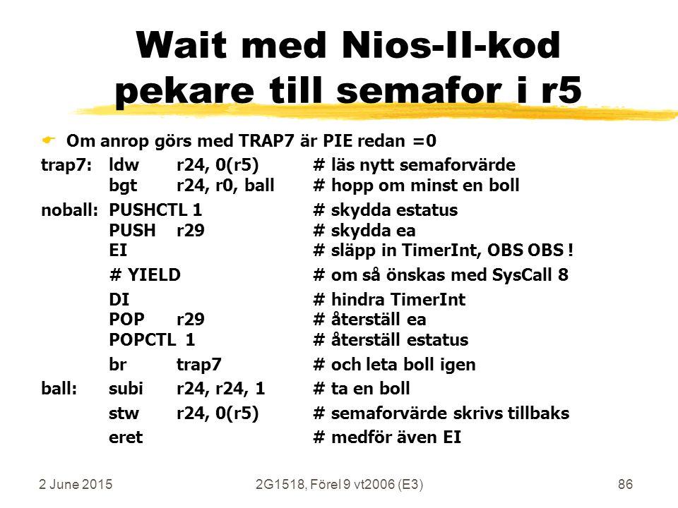 2 June 20152G1518, Förel 9 vt2006 (E3)86 Wait med Nios-II-kod pekare till semafor i r5  Om anrop görs med TRAP7 är PIE redan =0 trap7: ldwr24, 0(r5)#