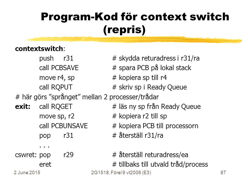 2 June 20152G1518, Förel 9 vt2006 (E3)87 Program-Kod för context switch (repris) contextswitch: pushr31# skydda returadress i r31/ra call PCBSAVE# spa