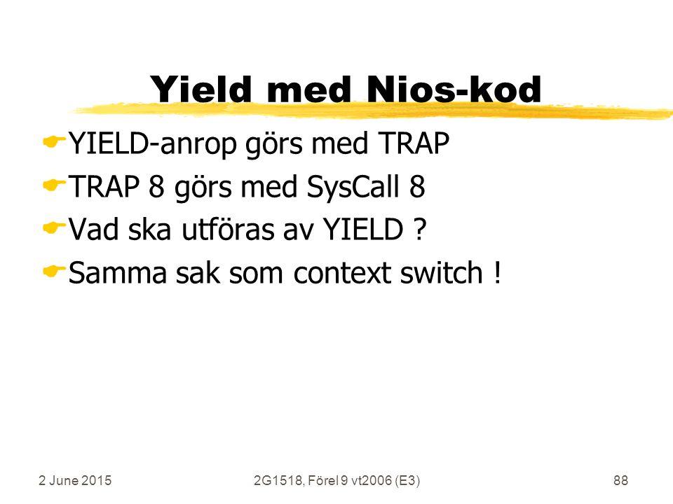 2 June 20152G1518, Förel 9 vt2006 (E3)88 Yield med Nios-kod  YIELD-anrop görs med TRAP  TRAP 8 görs med SysCall 8  Vad ska utföras av YIELD ?  Sam