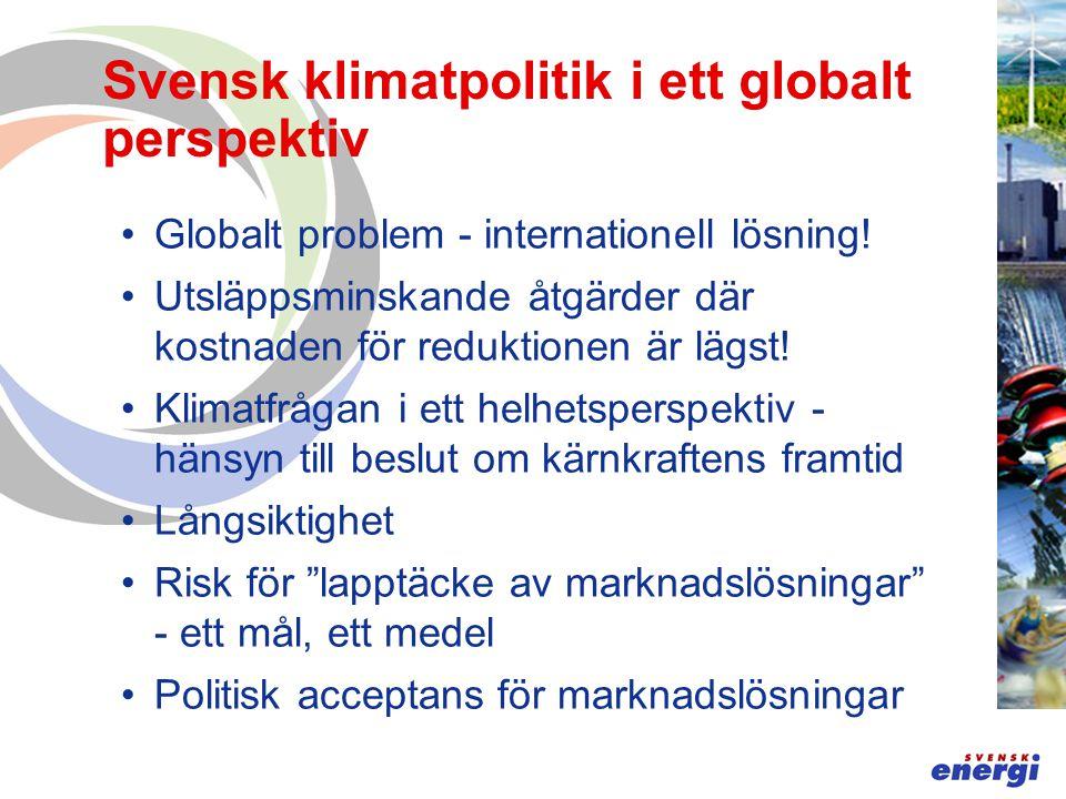 Svensk klimatpolitik i ett globalt perspektiv Globalt problem - internationell lösning.