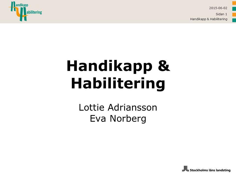 2015-06-02 Handikapp & Habilitering Sidan 2 Verksamhetsidé  Handikapp & Habilitering arbetar för att underlätta tillvaron för personer med funktionsnedsättningar och göra det möjligt för dem att aktivt delta i samhällslivet.