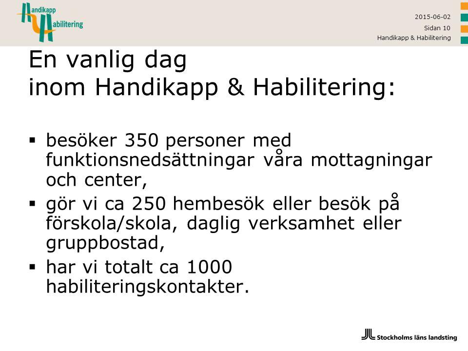 2015-06-02 Handikapp & Habilitering Sidan 10 En vanlig dag inom Handikapp & Habilitering:  besöker 350 personer med funktionsnedsättningar våra motta